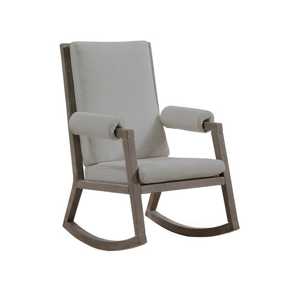 Natart Senza Rocker with Owl Wood Finish Upholstered in Fog