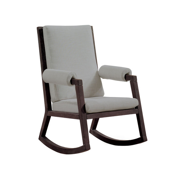 Natart Senza Rocker with White Wood Finish Upholstered in Fog