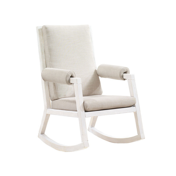 Natart Senza Rocker with White Wood Finish Upholstered in Talc