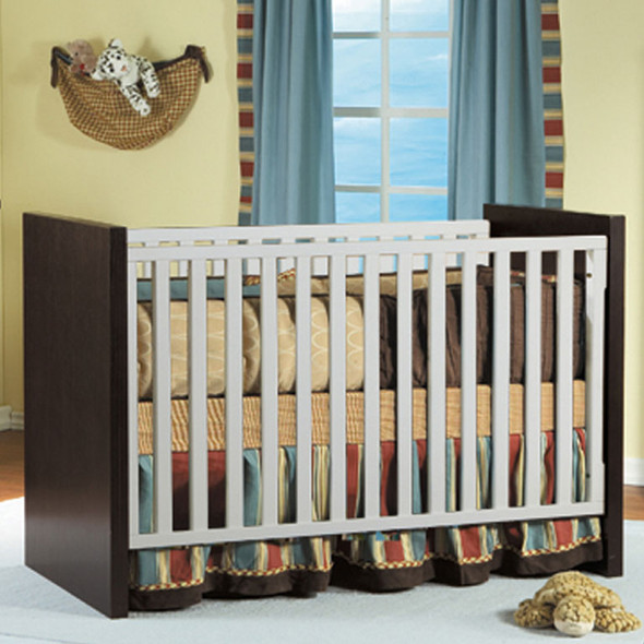 Milano Collection Forever Crib with Toddler Rail in White and Mocacchino