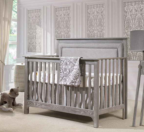 NEST Emerson Collection 4 in 1 Convertible Crib in Owl with Upholstered Panel in Fog-1