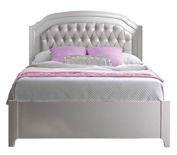 "Natart Alexa Double Bed 54"" with Low profile footboard & rails in Silver"