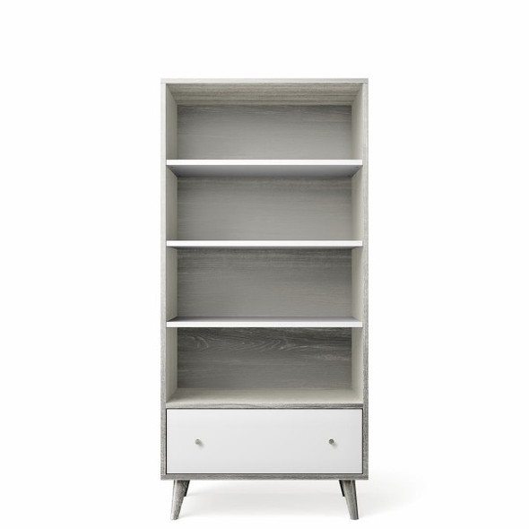 Romina New York Bookcase in Silver Frost