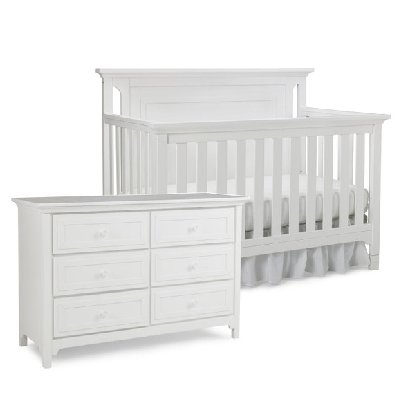 Ti Amo Carino 2 Piece Nursery Set - Crib, Double Dresser in Snow White