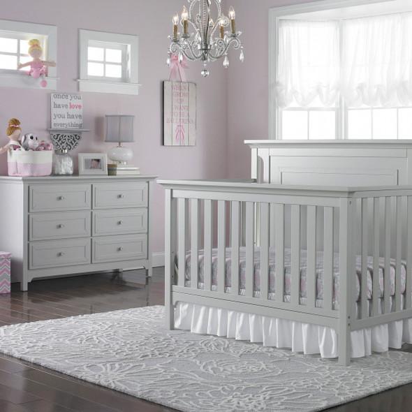 Ti Amo Carino 2 Piece Nursery Set - Crib, Double Dresser in Misty Grey