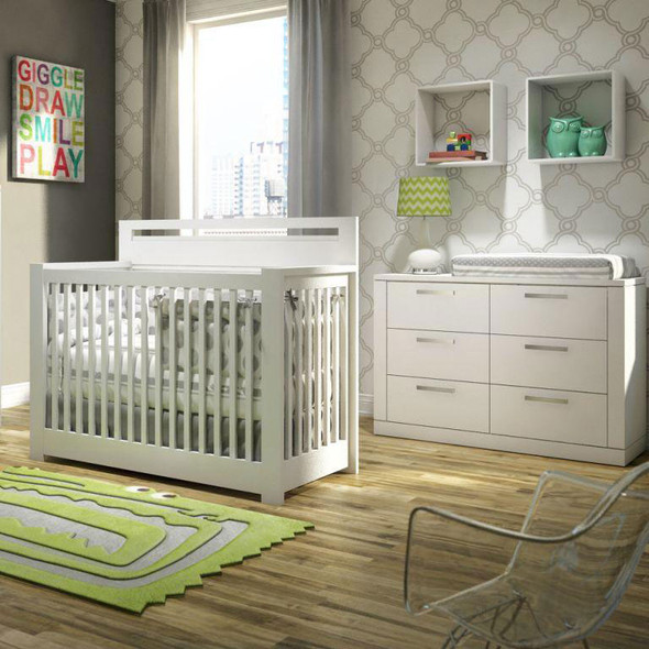 NEST Milano Collection 2 Piece Nursery Set - Crib, Double Dresser in White