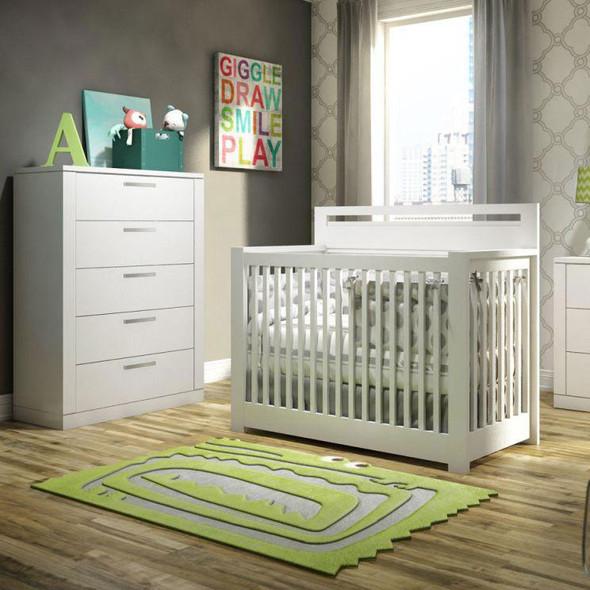 NEST Milano Collection 2 Piece Nursery Set - Crib, 5 Drawer Dresser in White
