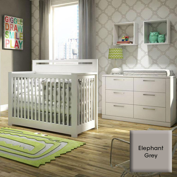 NEST Milano Collection 2 Piece Nursery Set - Crib, Double Dresser in Elephant Gray