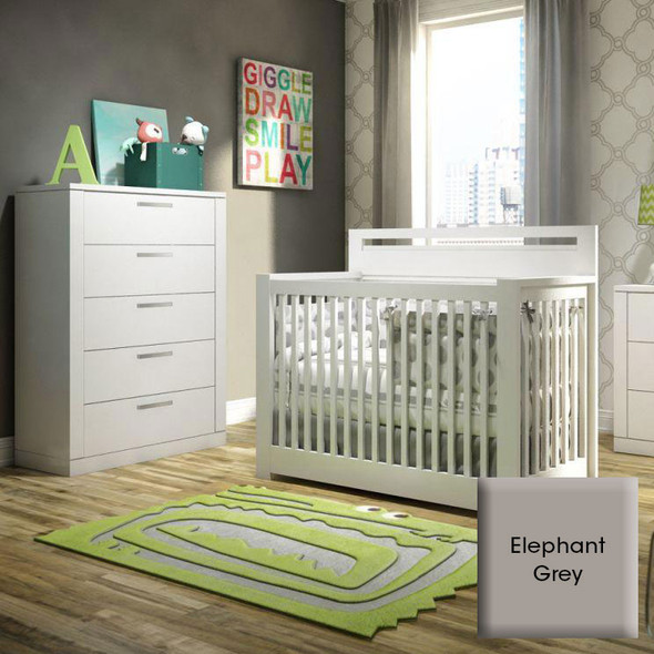 NEST Milano Collection 2 Piece Nursery Set - Crib, 5 Drawer Dresser in Elephant Gray
