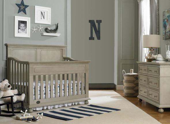 Dolce Babi Naples 2 Piece Full Panel Nursery Set - Crib, Double Dresser in Grey Satin