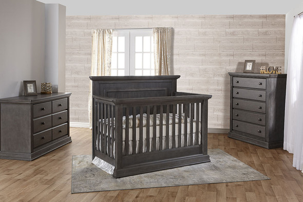 Pali Modena Collection 3 Piece Nursery Set in Granite - Crib, Double Dresser, 5 Drawer Dresser