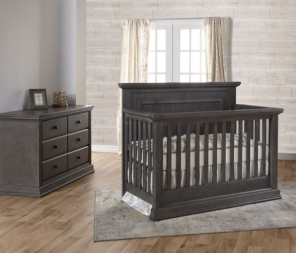 Pali Modena Collection 2 Piece Nursery Set in Granite - Crib and Double Dresser
