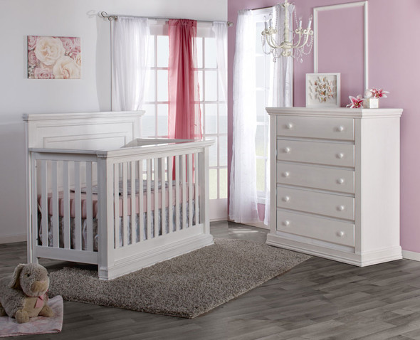 Pali Modena Collection 2 Piece Nursery Set in Vintage White - Crib and 5 Drawer Dresser
