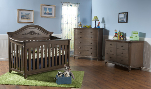 Pali Gardena 3 Piece Nursery Set - Crib, Double Dresser, Five Drawer Dresser in Slate