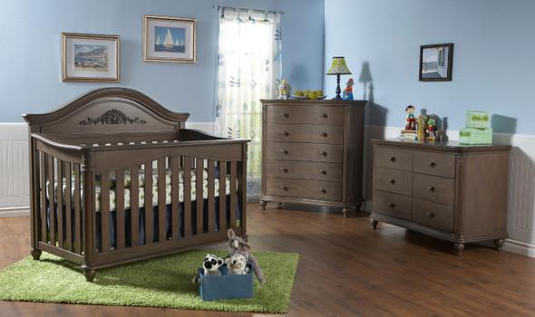 Pali Gardena 3 Piece Nursery Set - Crib, Double Dresser, Five Drawer Dresser in Slate