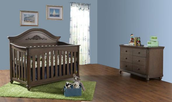 Pali Gardena 2 Piece Nursery Set - Crib, Double Dresser in Slate
