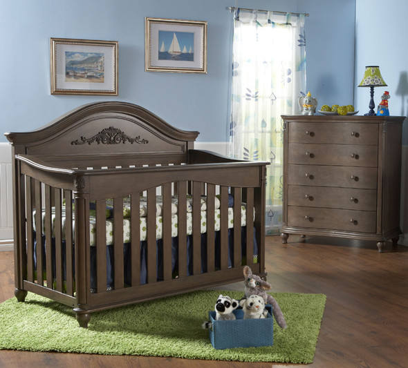 Pali Gardena 2 Piece Nursery Set - Crib, Five Drawer Dresser in Slate