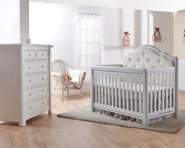 Pali Cristallo 2 Piece Nursery Set in Vintage White - Crib, 5 Drawer Dresser