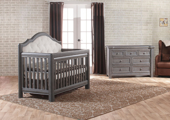Pali Cristallo 2 Piece Nursery Set in Granite - Crib, Double Dresser