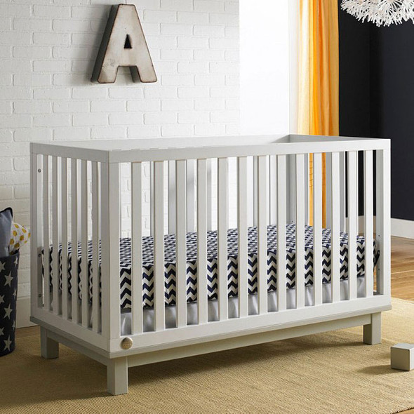 Fisher Price Riley Island Crib in Snow White and Misty Grey