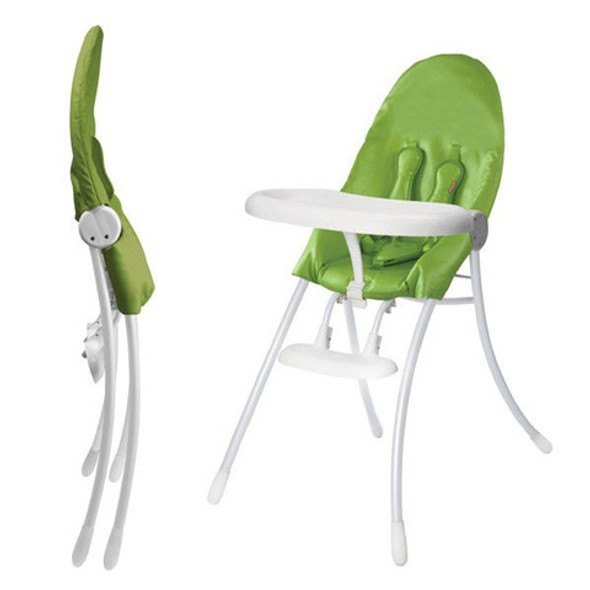 Bloom Nano Folding High Chair in White and Gala Green