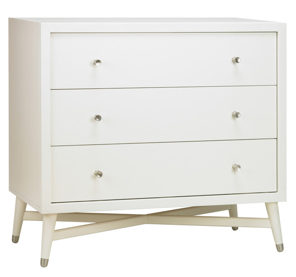 DwellStudio Mid Century 3 Drawer Dresser in French White