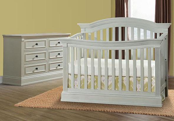 Stella Baby Trinity 2 Piece Nursery Set in Belgium Cream - Crib & Double Dresser