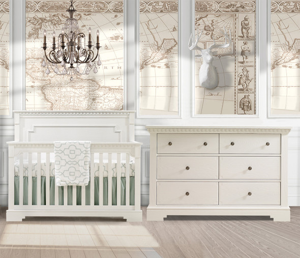 Natart Ithaca 2 Piece Nursery Set in White-Crib and Double Dresser