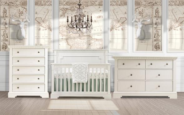 Natart Ithaca 3 Piece Nursery Set in White-Crib, Double Dresser, and 5 Drawer Dresser