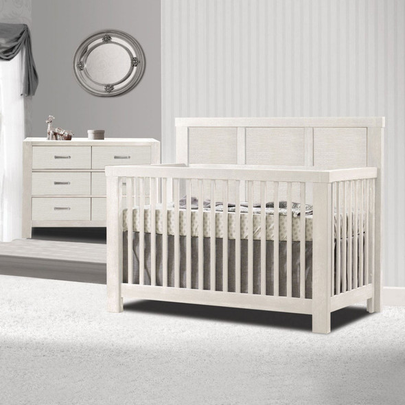 Natart Rustico 2 Piece Nursery Set in White-Crib and Double Dresser