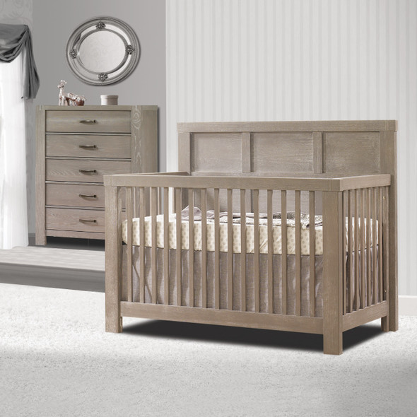 Natart Rustico 2 Piece Nursery Set in Sugar Cane-Crib and 5 Drawer Dresser