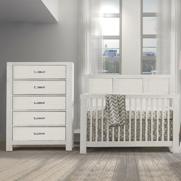 Natart Rustico 2 Piece Nursery Set in White-Crib and 5 Drawer Dresser