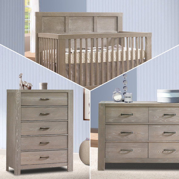 Natart Rustico 3 Piece Nursery Set in Sugar Cane-Crib, Double Dresser, and 5 Drawer Dresser