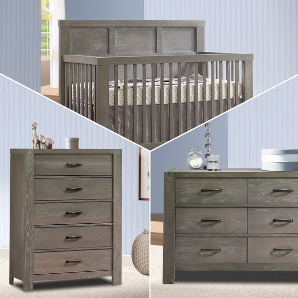 Natart Rustico 3 Piece Nursery Set in Owl-Crib, Double Dresser, and 5 Drawer Dresser