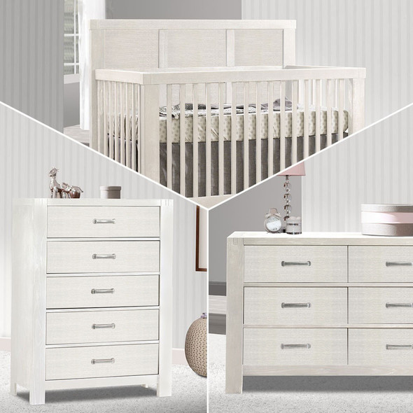 Natart Rustico 3 Piece Nursery Set in White-Crib, Double Dresser, and 5 Drawer Dresser