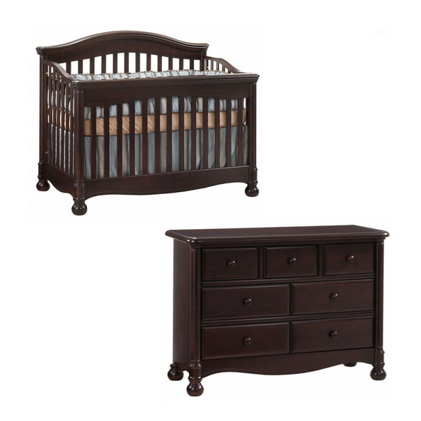 Natart Avalon 2 Piece Nursery Set in Cocoa-Crib and Double Dresser