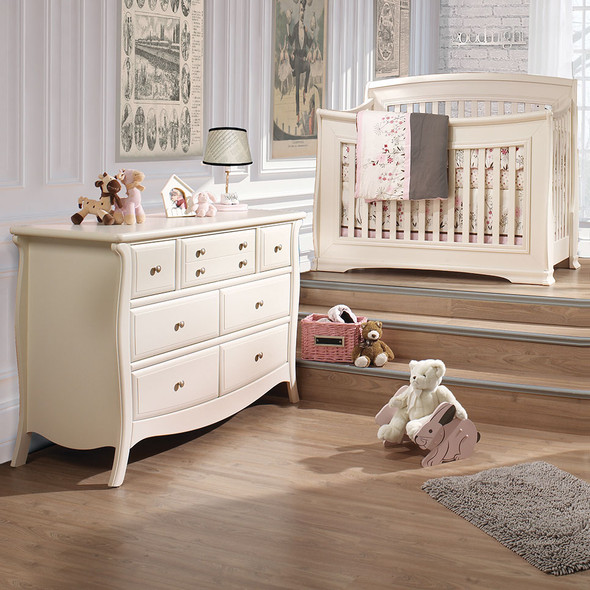 Natart Bella 2 Piece Nursery Set in Linen-Crib and Double Dresser
