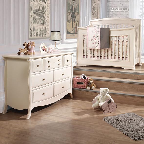 Natart Bella 2 Piece Nursery Set in Linen-Crib and Double Dresser
