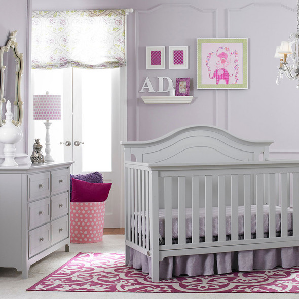 Ti Amo Catania 2 Piece Nursery Set Crib and Double Dresser in Misty Grey