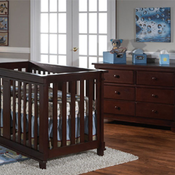 Pali Lucca 2 Piece Nursery Set Crib and Double Dresser in Mocacchino