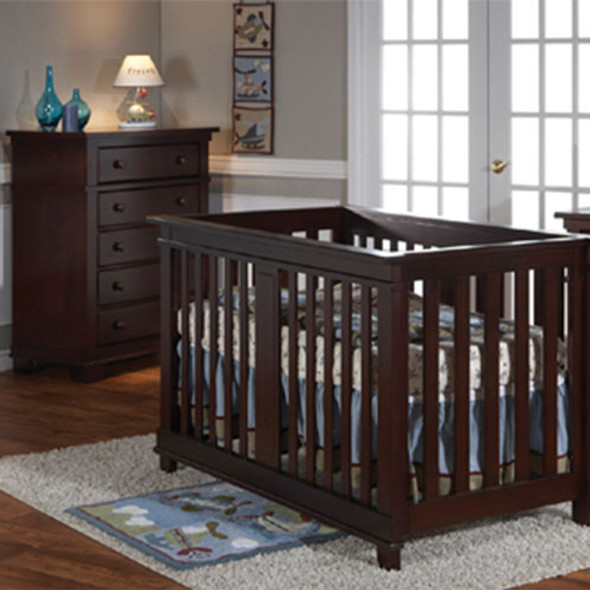 Pali Lucca 2 Piece Nursery Set Crib and 5 Drawer in Mocacchino