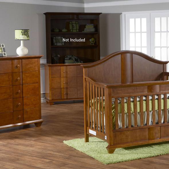 Pali Onda Collection 3 Piece Nursery Set in Walnut - Crib, 5 Drawer Dresser, Double Dresser