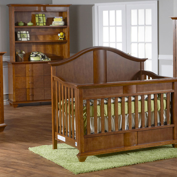 Pali Onda Collection 3 Piece Nursery Set in Walnut - Crib, Double Dresser, Hutch