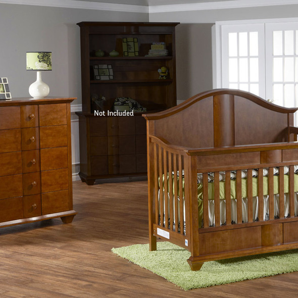 Pali Onda Collection 2 Piece Nursery Set in Walnut - Crib and 5 Drawer Dresser