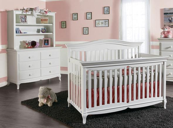 Pali Mantova Collection 3 Piece Nursery Set in White - Crib, Double Dresser, Hutch