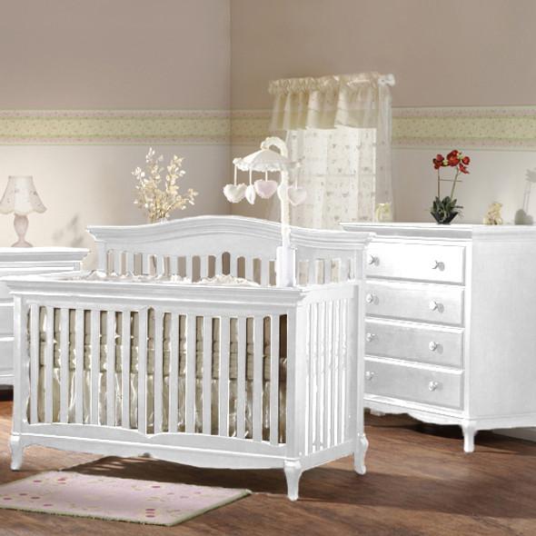 Pali Mantova Collection 2 Piece Nursery Set in White - Crib and 4 Drawer Dresser