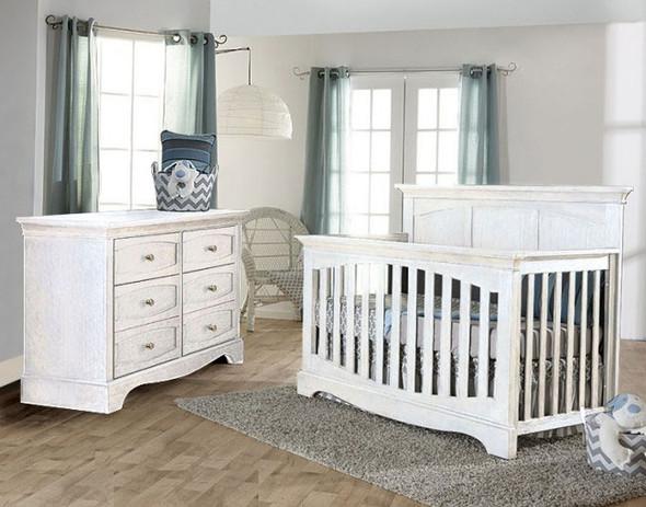 Pali Ragusa 2 Piece Nursery Set in Vintage White - Crib and Double Dresser