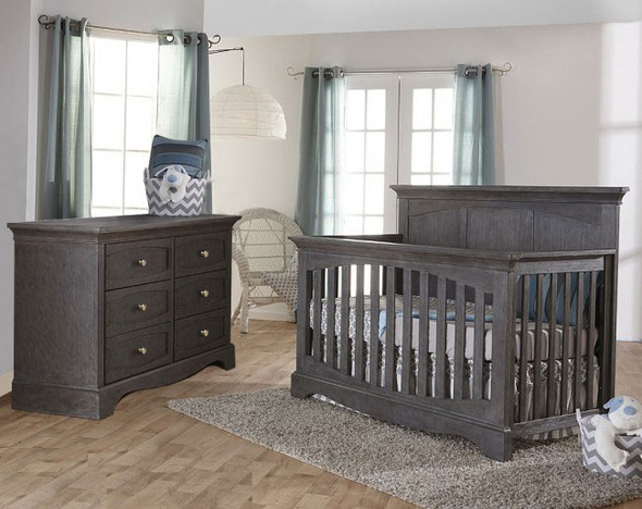Pali Ragusa 2 Piece Nursery Set in Distressed Granite - Crib and Double Dresser