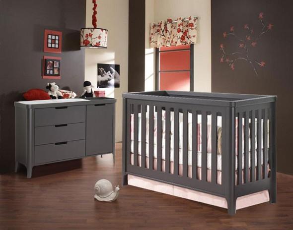 Tulip Piccolo Collection 2 Piece Nursery Set - Crib and Combo Dresser in Espresso