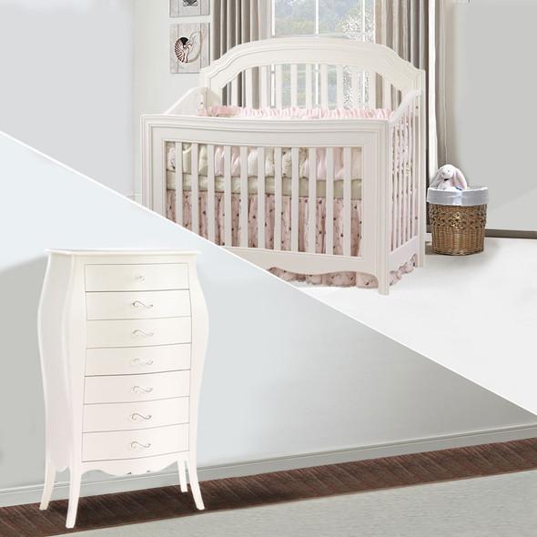 Natart Allegra 2 Piece Nursery Set in French White - Crib and Chest